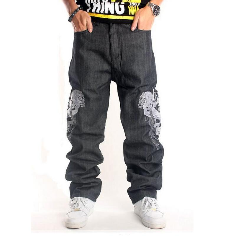 Jeans Men 2016 New Fashion Men Jeans Skull Hiphop Pants Men Street Dance Jeans Mens Trousers Straight Loose Trousers Black