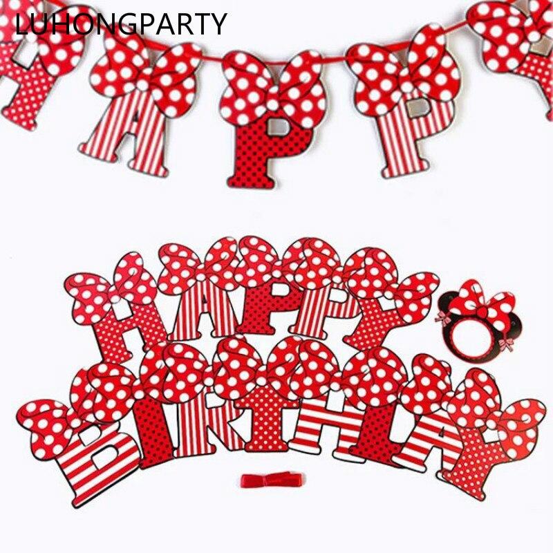 Mädchen Minnie Maus Partei Bunting 1 Banner Fahnen Pro Ammer Länge 2,5 m  Party Favors kinder jungen Mickey Glücklich Geburtstag dekoration