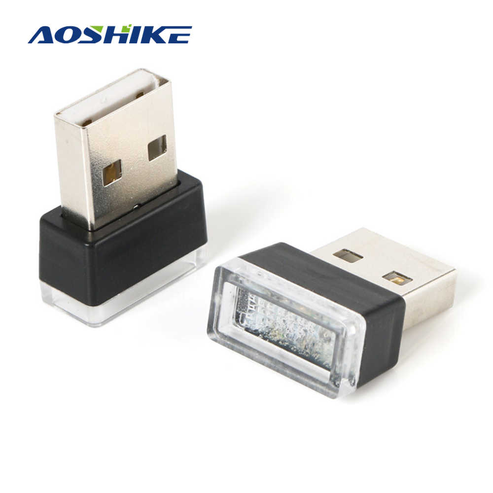 AOSHIKE 1 Piece Car USB LED Atmosphere Lights Decorative Lamp Emergency Lighting Universal PC Portable Plug and Play