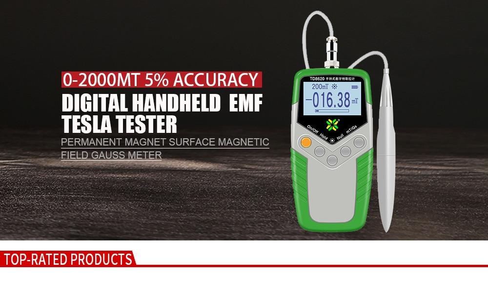 Digital Gauss Meter Handheld Gaussmeter EMF Tesla Tester Permanent Magnet  Surface Magnetic Field Tester 0-2000mT 5% Accuracy
