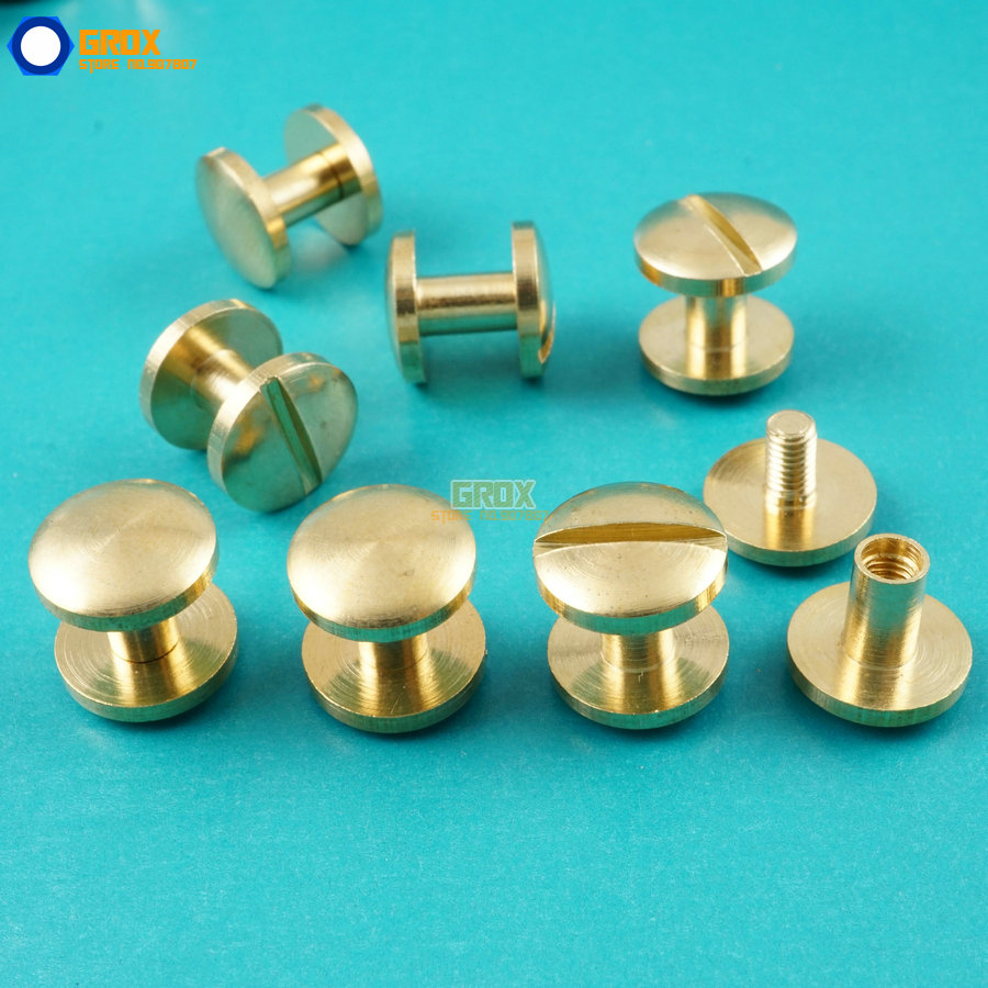 50 Set 10*6mm Solid Brass Rivet Chicago Screw for Leather Craft Belt Wallet / Cambered