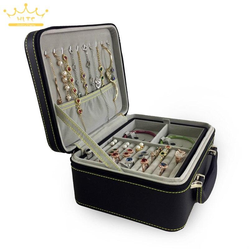 1pc PU cuir double bijoux avec fermeture éclair boîte de rangement multicouche boucles d'oreilles collier bracelet anneau stockage boîte à bijoux - 3