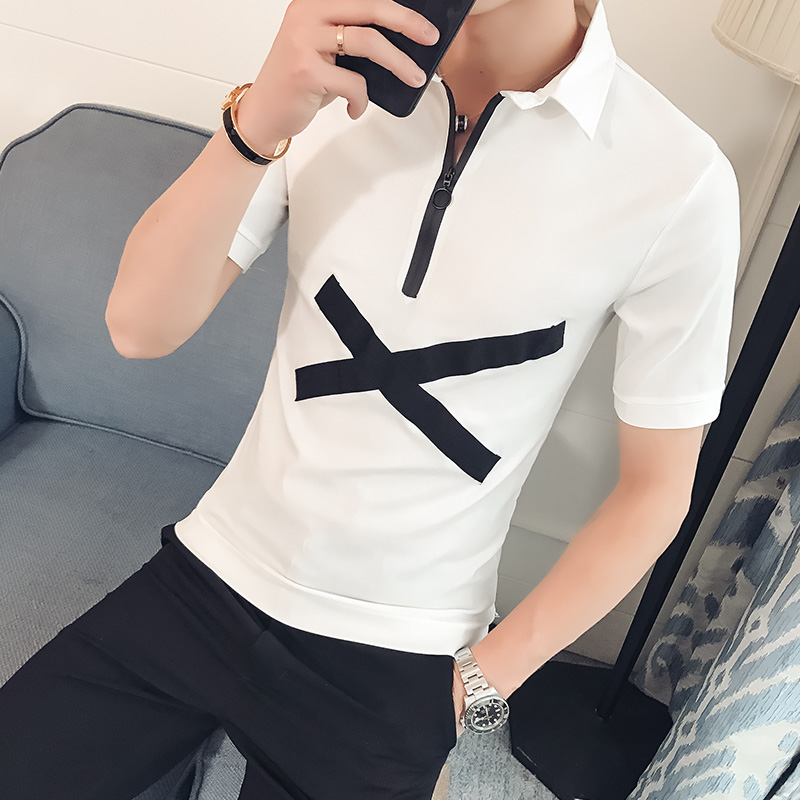 Summer HotSale Men Shirt Fashion Scissor Pattern Slim Fit Casual Social Shirts Short Sleeve Turn Down Collar Business Work Shirt