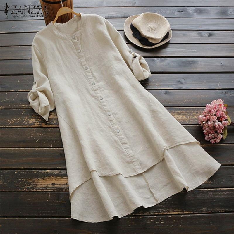 Vintage Linen Shirt 2019 ZANZEA Women's Asymmetrical Blouse Female Mini Vestidos Button Down Shirts Plus Size Tops Robe Femme