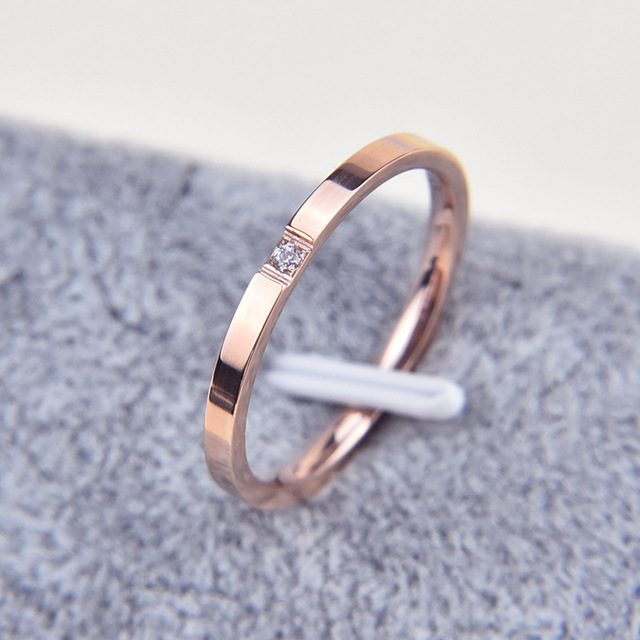 Martick Fashion Rose-Gold Stinless Steel Thin Ring With Shining Crystal Rings Bague For Women Jewelry Never Fade R16