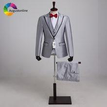 Деловые серебристо серые мужские костюмы Свадебный костюм смокинг