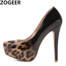 54bc8d4df2e Plus Size 48 Spring Autumn Sexy Leopard Wedding Fetish Shoes Round Toe Woman  Pumps Platform