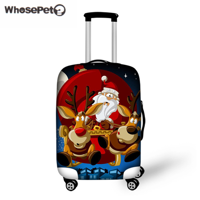 WHOSEPET Luggage Cover Santa Claus Costume Thick Elastic Travel Luggage Protective Cover Waterproof Rain Cover Christmas Gift ...