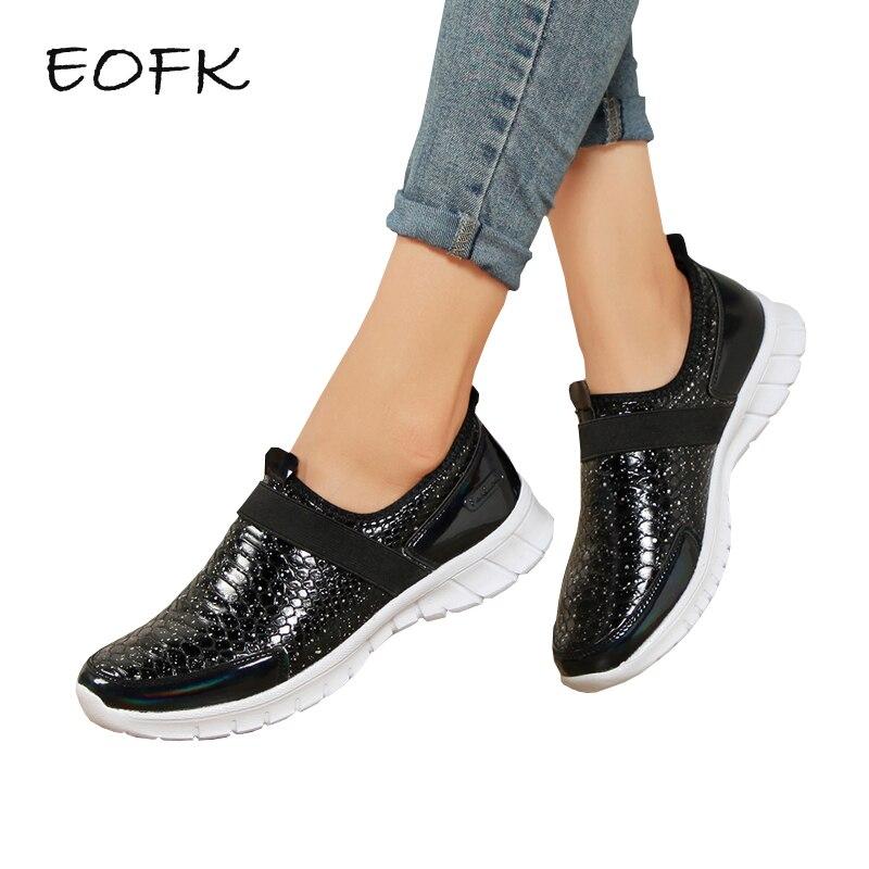 Dames Automne Sur Nouvelle Qualité Eofk Sneakers Chaussures De Femmes argent Noir Appartements Haute Noir Femme Plat Casual Slip Confortable qqwxXa0g
