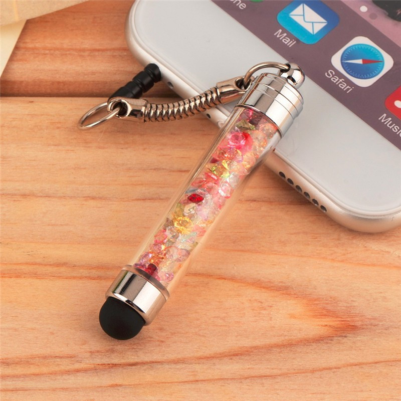 Diamond Crystal Stylus Touch Screen Pen Stylus 3.5mm Dust Plug Cap For Apple iPhone Tablet Android Phones Latop Styluses pen