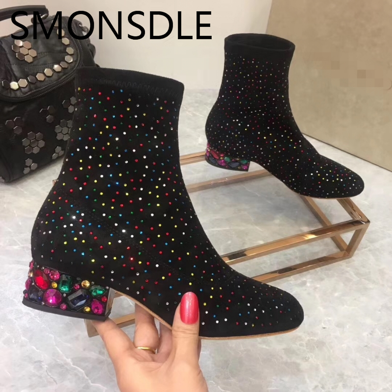 2018 New Spring Autumn Shoes Woman Ankle Boots Square Crystal Heels Women Kid Suede Tide Boots Slip On Women Shoes Martin Boots enmayla new women slip on chelsea boots suede black crystal ladies ankle boots for women round toe med heels shoes woman