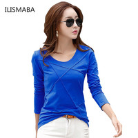 ILISMABA The New Ms Autumn Fashion Long Sleeves Round Neck Brands T Shirt Stitching Solid Color