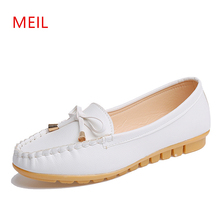 New Women Loafers Flats Oxford Shoes Soft Bottom Skid Comfortable Round Toe Nurse Sweet Lovly Bow Pink