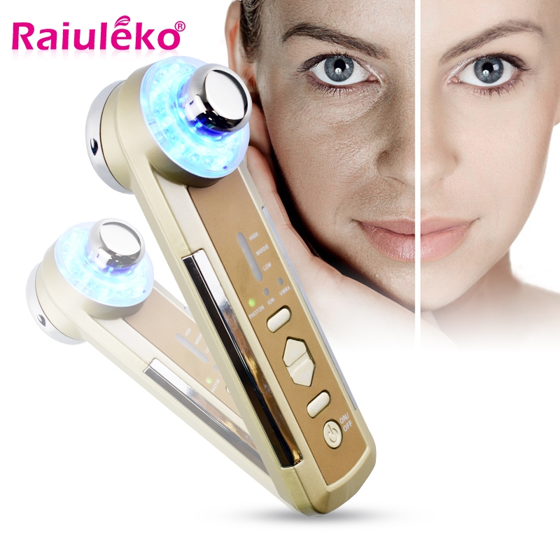 4 In 1 Ultrasonic LED Photon Lights Sonic Lifting Face Lift Skin Cleaner Wrinkle Remover Ultrasound