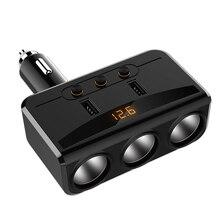 Универсальный Автомобильный USB гнездо для автомобильного прикуривателя с разъемом 12 V-24 V Мощность адаптер макс. 5 в 3.1A 2 зарядных порта USB для автомобиля Зарядное устройство с вольтметром ЖК-дисплей