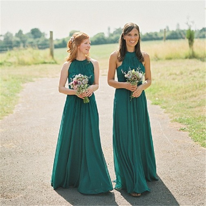 e05204e0139 Emerald Green Long Chiffon Bridesmaid Dresses Halter Wedding Guest Dresses  Maid of Honor Wedding Party women