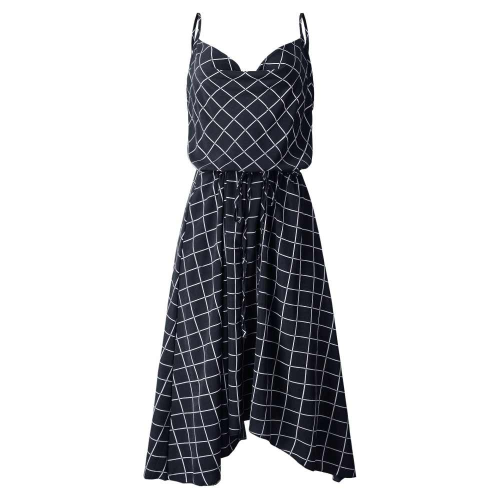 e552918e34a49 spaghetti strap irregular checkere sundress women summer 2019 open back  casual plaid loose dress plus size robe femme ete 101080
