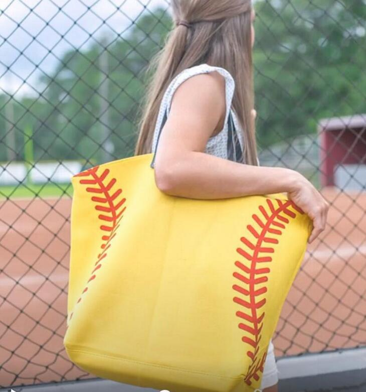 Shopping Bag Yellow Softball White Baseball Jewelry Packaging Blanks Kids Cotton Canvas Sports Bags Baseball Softball Tote Bag