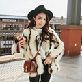 Stylish Wave Striped Long Hairy Shaggy Faux Fox Fur Coat 2016 Women O Neck Contrast color Faux Fur Jackets Short Outerwear