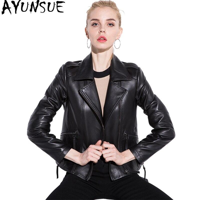 Cuir Ayunsue Hiver Regular Yq1407 Femmes Mouton Mode Naturel Veste black  Thicken En Moto 2018 Black Véritable Peau De Autunm Vestes Manteau Noir  zBrWtznS1T 4312271bd20