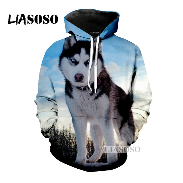 Liasoso 2018 Funny Cute Siberian Husky Dogs Animal Casual 3d Print