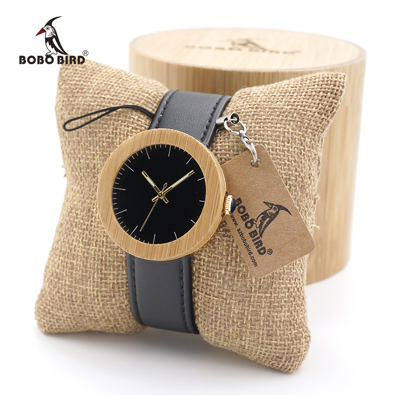 BOBO BIRD Classic Women's Bamboo Wood Watch Handmade Quartz Watch with Leather Strap in Gift Box Free Shipping bobo bird o01 o02men s quartz watch top luxury brand bamboo wood dress wristwatch with classic folding clasp in wood gift box