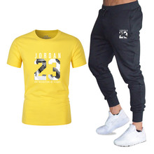 New running T-shirt+Pants Mens Sets Jordan 23 Print Men Brand Clothing Two piece suit Sportswear Tracksuit Gyms Jogger