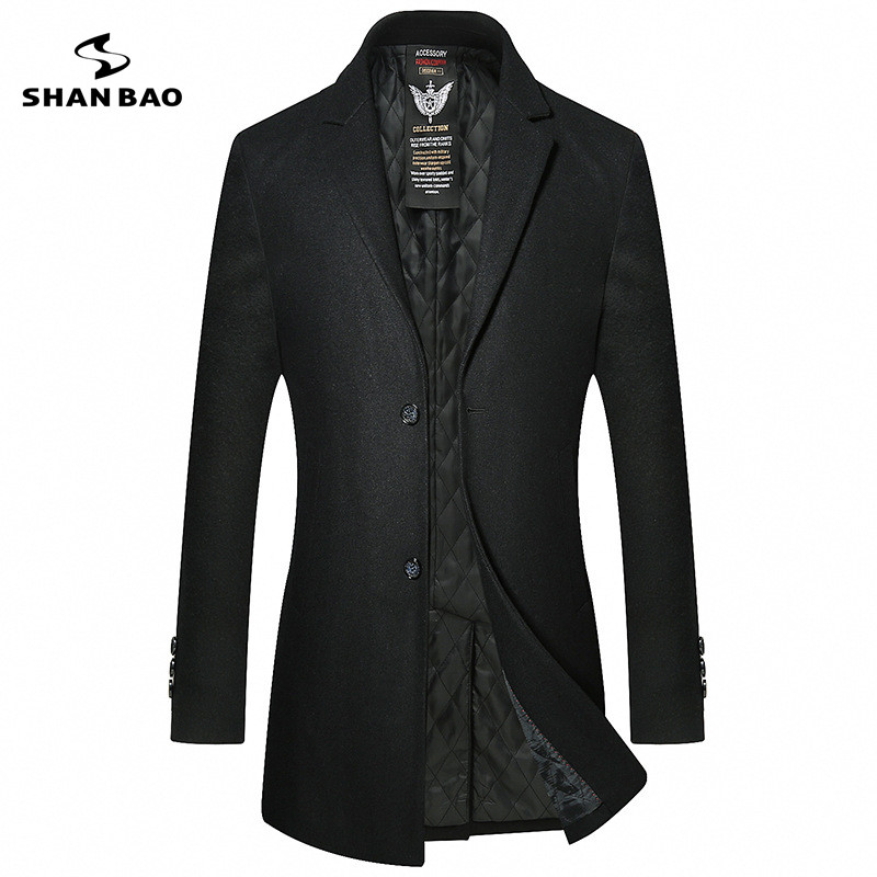 SHANBAO brand thick warm men's business gentleman casual wool coat 2019 winter new style lapel two buckles long wool coat
