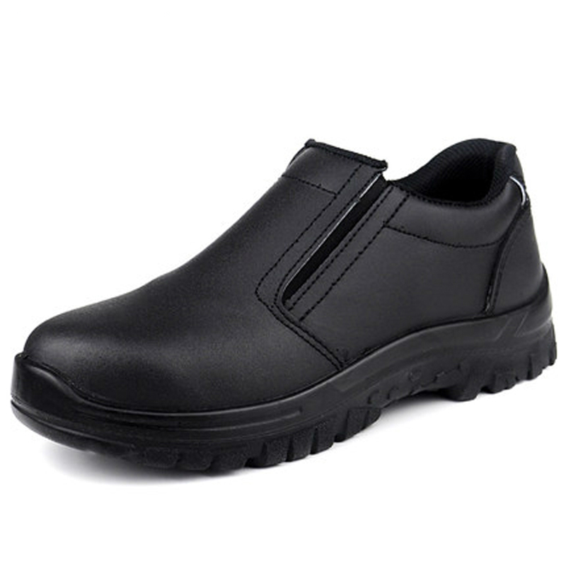 plus size 45 46 men's fashion black steel toe caps work safety shoes spring autumn genuine leather slip on tooling ankle boots plus size men breathable dress shoe steel toe caps work safety summer shoes womens plate sole outdoors tooling low boots leather