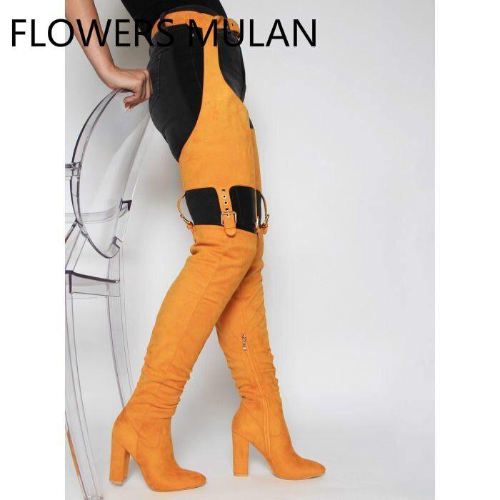 Luxe daim femmes pantalons bottes Orange noir cuissardes bottes femmes défilé de mode taille boucle chaussures hauts talons carrés Zapatos