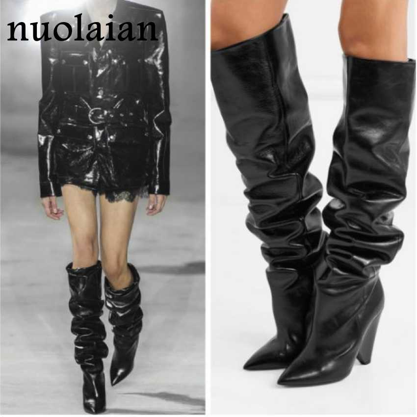 294a3c9fa451a Black Leather Thigh High Boots Women 9CM High Heel Over The Knee Boots  Woman Motorcycle Boot Snow Winter Boots With Fur Shoe