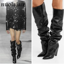 Black Leather Thigh High Boots Women 9CM High Heel Over The Knee Boots Woman Motorcycle Boot Snow Winter Boots With Fur Shoe(China)