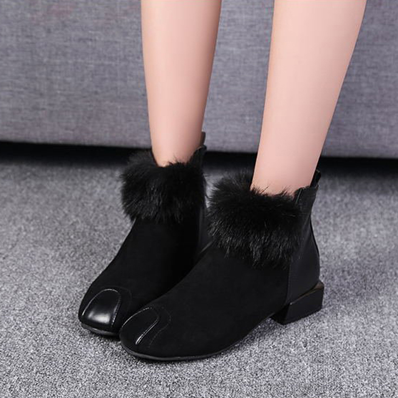 Women ankle boots square toe women winter boots warm plush leather winter shoes botas de mujer khaki winter boots women flat heels round toe ladies boots shoes women botas altas mujer female winter boots with plush