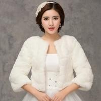 2016 Winter Bridal Fur Wraps Wedding Bolero Jacket Cheap Bridal Shawl Capes Plus Size Bolero Faux