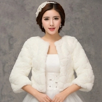 2016 Winter Bridal Fur Wraps Wedding Bolero Jacket Cheap Bridal Shawl Capes Plus Size Bolero Faux