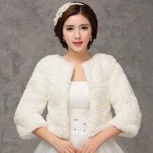 2018 Winter Bridal Fur Wraps Wedding Bolero Jacket Cheap Bridal Shawl Capes Plus Size Bolero Faux Fur Shawls Wedding jackets