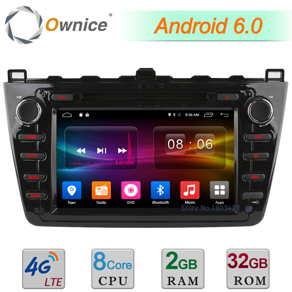 8 Octa Core 2GB RAM 32GB ROM 4G WIFI Android 6.0 DAB AUX Car DVD Player Radio For Mazda 6 Ruiyi Ultra 2008-2012 GPS Navigation ownice c500 octa 8 core android 6 0 2din 8 1024 600 car dvd for kia new ceed wifi radio gps 2gb ram 32gb rom support 4g dab
