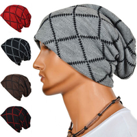 Fashion Autumn Winter Men Geometric Patterns Knitted Hats Caps Warm Skullies Beanies Hip Hop Snap Slouch