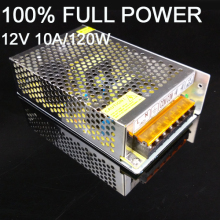 Free shipping 1pcs 10A 120W adapter 12v switching power supply adapter led strip SM5050 SMD570 SMD5630 light transformer
