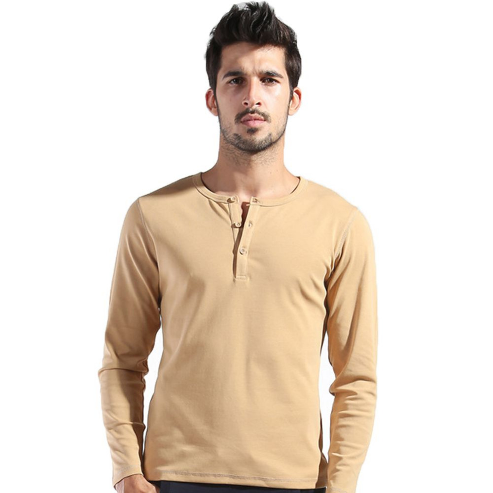 271b4908b5f6 Autumn Men s Basic Tee Long Sleeve Henley Shirts Slim Cut Casual Wear YZ-in  T-Shirts from Men s Clothing on Aliexpress.com