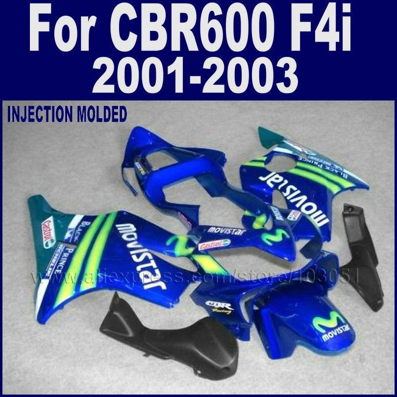 Road race motorcycle fairings kits for Honda 2001 2002 2003 CBR 600 F4i cbr600f4i 01 02 03 blue movistar fairing bodywork parts