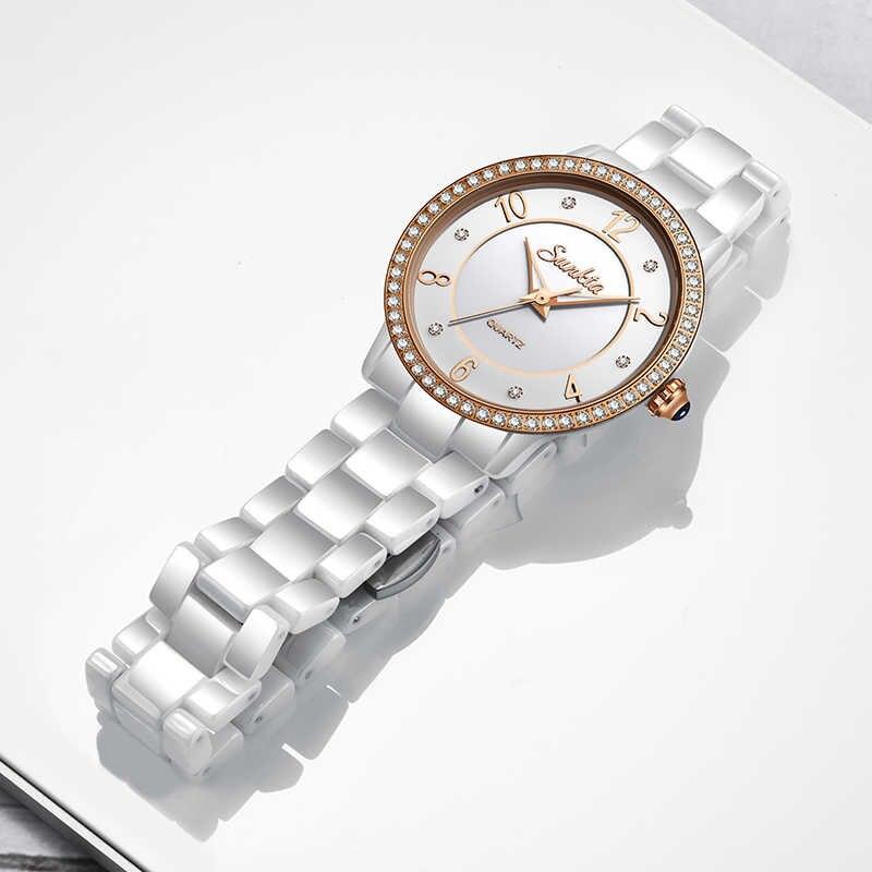 SUNKTA Diamant Weiß Keramik Frauen Uhren Wasserdicht Top Marke Luxus Uhren Frauen Mode Kleid Quarzuhr Relogio Feminino