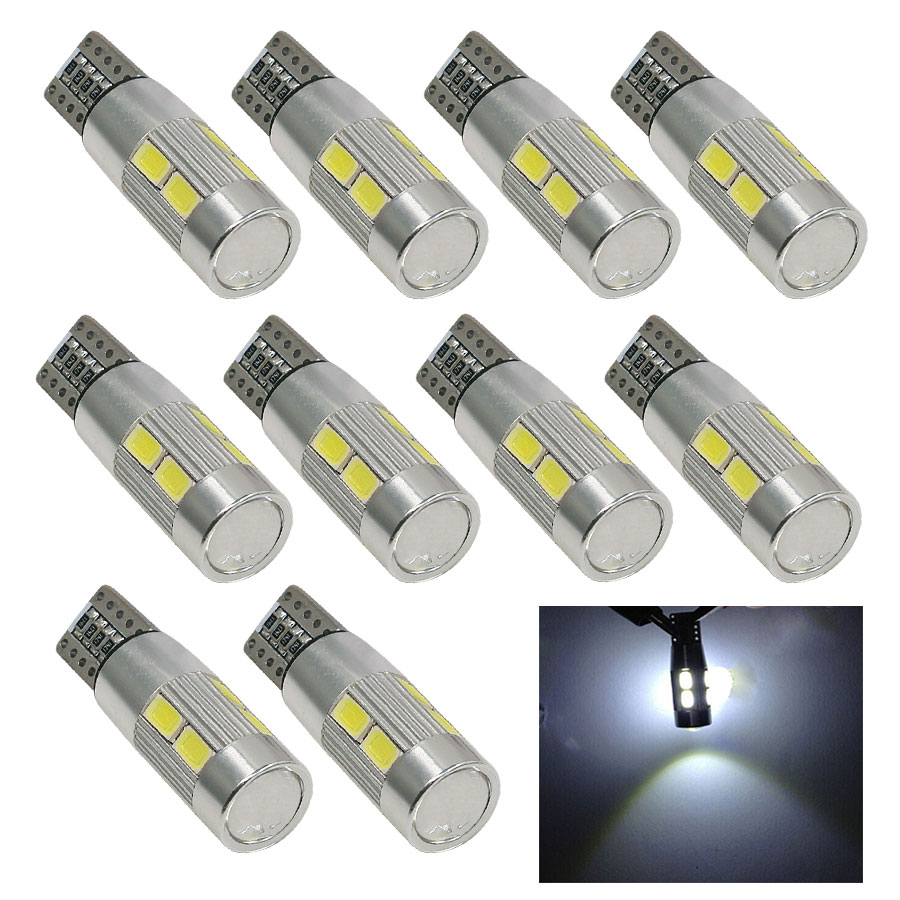 10PCS Car LED T10 194 W5W Canbus 10 SMD 5630 LED Light Bulb No Error Auto LED Clearance Lamp T10 LED Side Light Car Styling DC12 10pcs led car interior bulb canbus error free t10 white 5730 8smd led 12v car side wedge light white lamp auto bulb car styling
