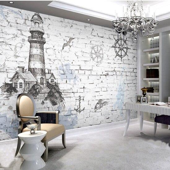 Personalizado pintura mural da parede retro Mediterrâneo farol nostálgico sala TV sofá da sala de estar quarto papel de parede 3D papel de parede mural