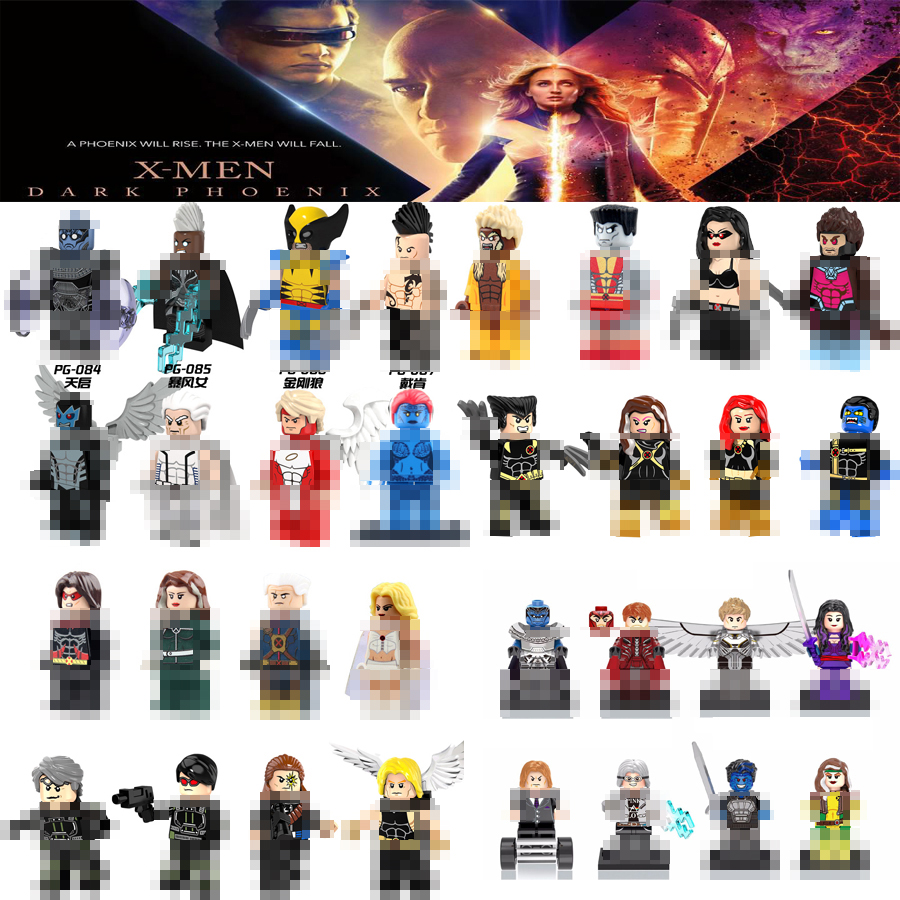 Marvel Dark Phoenix Professor X X-Men Wolverine Mystique Storm Beastly Apocalypse Beast Jean Grey Building Blocks Toys Figures(China)