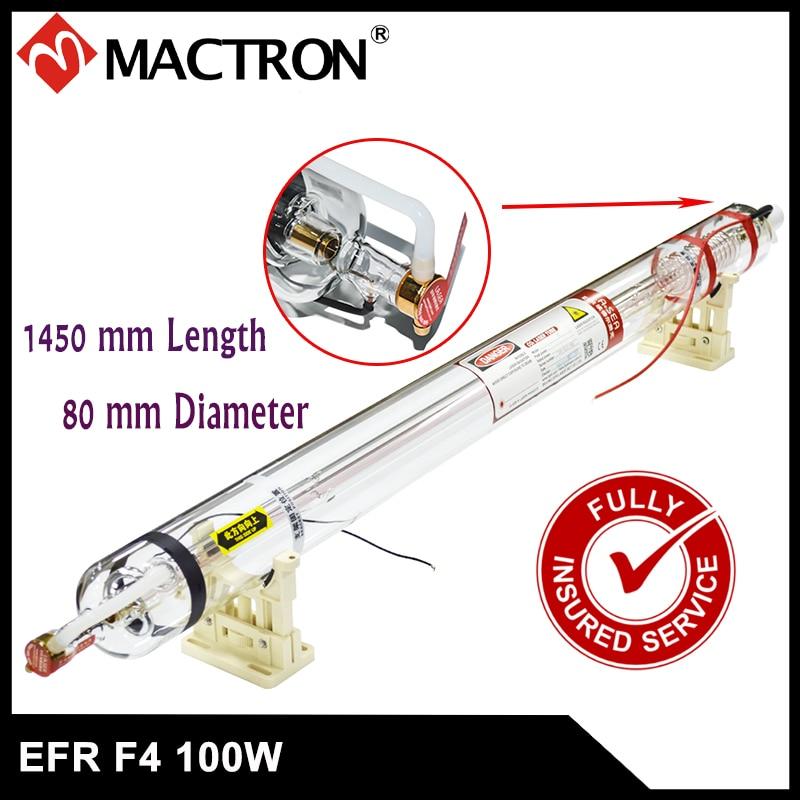 1 db EFR 100W hosszú élettartamú, vízhűtéses fejű Co2 lézercső garancia 8 hónap