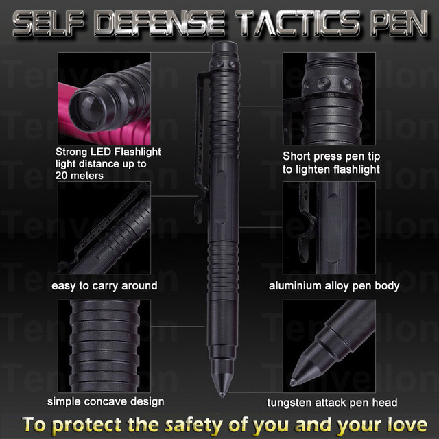 Self Defense Supplies Security Protection Defense Personal Tactical Pen Self defense Multi functions LED Flashlight Tactical Pen