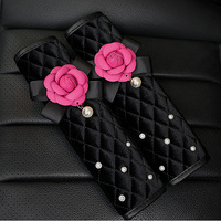 2Pcs Lot Pearl Camellia Flower Auto Car Safety Seat Belt Cover For Women Plush Harness Shoulder