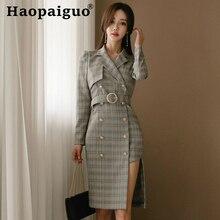 Notched Double Button Casual Dress Women Long Sleeve Asymmetrical Elegant Print Plaid Corset Bodycon Bandage Dresses