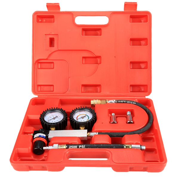 Cylinder Tester Detector Engine Compression Leak-down Test Gauges Set & Red Case